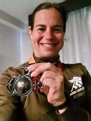 Selfie of shirt and medal
